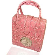 Borsa beauty portagioie da viaggio cm 10x11 pelle rosa con margherita centrale