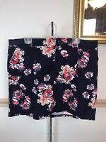 Lee Midrise Womens Navy Blue Floral Plus Size Skort Skirt Shorts 18 W