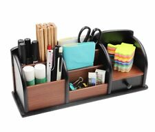 Wooden Desk Organizer Office Supplies Accessories Storage Drawer Tray Pencil Pen
