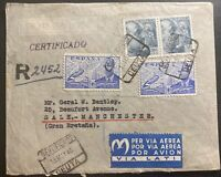 1946 Ceuta Spain Airmail Registered Cover to Sale Manchester England