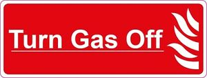 Turn Gas Off 200x75mm - Danger - Health & Safety signs/stickers