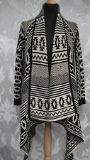 Black and Biege Aztec Open fronted Cardigan