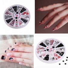 Fashion 3 Colors Crystal Rhinestone Glitter Gems 3D Nail Art DIY Decor Wheel Hot