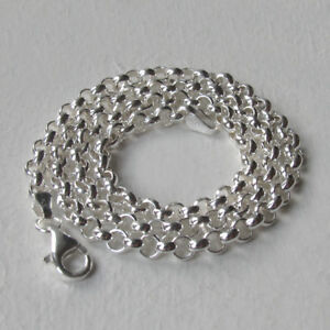 """Italian Solid Sterling Silver 4mm Belcher Chain Necklace, Lengths 16"""" to 34"""""""