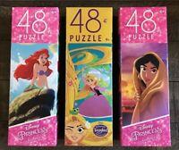 3 Childrens Puzzles 48 pieces Disney Princess & Tangled Puzzle lot B5