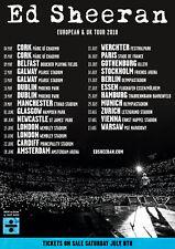 "ED SHEERAN ""EUROPEAN & UK TOUR 2018"" CONCERT POSTER - Pop, Folk Pop Music"