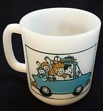 """Vintage Glasbake 79 Milk Glass Coffee Mug Cup """"I'd Rather Be... On Vacation!"""""""