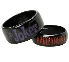 DC Comics Batman The Joker Harley Quinn HIS & HER Boxed Costume Ring Set 7 & 11