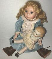 "Artist Doll Set ANNETTE HERRMANN ORIGINALS ""Erin and Dolly"" LE Porcelain + Resin"
