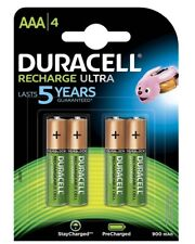 4 Pack Of Duracell PreCharged Recharge Ultra AAA Batteries NiMH 900 mAh/1.2V