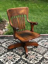 Bankers Captains Office Arm Chair Quarter sawn Oak Slat Swivel Rolling Antique