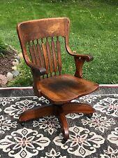 Bankers Captains Office Arm Chair Quarter sawn Oak Slat Swivel Rolling Antique