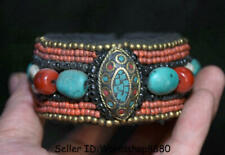 "3.6""Old Tibet Tibetan Buddhism Turquoise coral hand made Jewelry bracelet bangle"