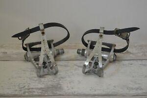 "Vintage Maillard CXC Pedals Pair 9/16"" with Christophe Toe Clips & Lapize Straps"