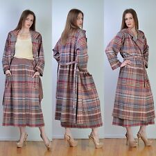 VTG 70s MISSONI Plaid Wool Sweater COAT + Wrap Maxi SKIRT Dress Jacket SUIT S-M