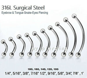 2pcs Surgical Steel Curved Eyebrow Barbell Tongue Snake-Eyes Piercing 20g to 10g