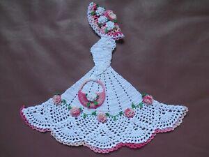 """New 10.2"""" 3D Crinoline Lady Doily Pink & White Rose Crochet Flower Decor / Gift"""