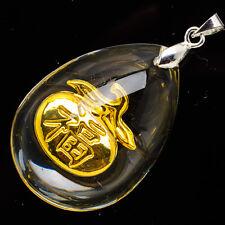 24k ORO AMARILLO .999 lágrima Favorable Tangerina colgante de cristal 3.8cm