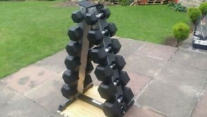 Nuke Fitness® Rubber Hex Dumbbells 7 - 17.5kg Set with 6 Pair A Rack Gym Weights
