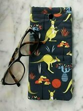 Aust Kangaroo Sunglasses Case handmade soft padded glasses case snap close