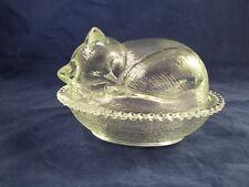 Cat Kitten Sleeping Kitty Clear Glass Covered Candy Dish Basket Bowl FUN NICE