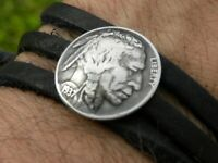 Buffalo  leather Bracelet Indian Nickel coin has sterling ring wrap bangle strap