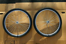 PAIR OF 26 inch ALLOY MOUNTAIN BIKE  WHEELS WITH TYRES AND TUBES