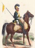 Gravure XIXe Chevau Léger Cavalerie Napoléon Bonaparte Uniforme Premier Empire