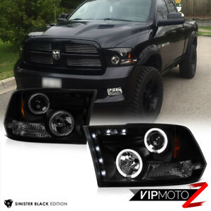 09-18 Dodge Ram PickUp Sinister Black Smoke Halo LED Projector Headlight Lamp