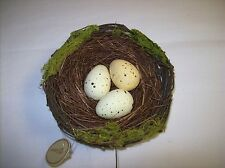 """5"""" Decorative Bird Nest with three Yellow Eggs with Brown Speckles"""