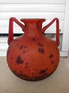 Grand Vase Boule Art Déco Pâte de Verre DAUM NANCY CROIX DE LORAINE FRANCE