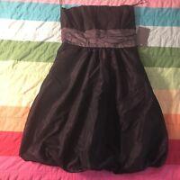 Zara Basic Black Gray Purple sheen Strapless tube Bubble Hem Dress Sz M A858
