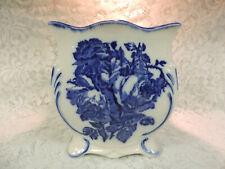 Victoria Ironstone Staffordshire England Flow Blue Floral Planter