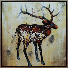 Double Framed oil paintings canvas Colorful Deer Modern wall cart special gift