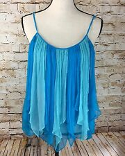 Women's Small BOSTON PROPER Blue 100% Silk Sheer Flowing Tank Top Shirt S EUC