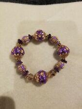 Purple Beaded Stretch Bracelet Lilah Ann Beads Amethyst Bali Goldtone