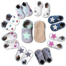 Baby Krabbelschuhe, kinder Hausschuhe, Baby Lederschuhe Sterne von HOBEA-Germany
