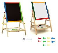 Kids 2 In 1 Black White Wooden Easel Chalk Drawing Board Educational Toy Gift BN