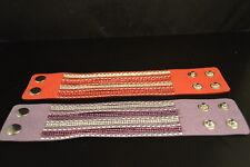 "Lot of 2 "" Leather Look"" RHINESTONE & STUD BRACELETS  New!  Jewelry  USA SELLER!"