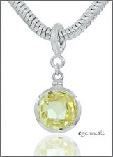 Sterling Silver Yellow CZ Round Charm Pendant Fit European Bracelet #94020