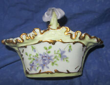Limoges handle basket ceramic lilacs purples soft greens shiny gold ruffle trim
