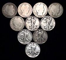 $5 Face Value 90% Silver U.S. Barber & Walking Liberty Half Dollars 10-Coin Lot
