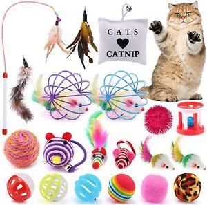Katzenspielzeug Set Katzenspielzeug Cat Toy mit Bällen Angel Mäusen 20tlg DE