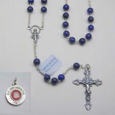 Lapis Lazuli Gemstone Rosary / Sterling Silver - Bonus St. Anthony Relic Medal