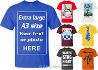 A3 Photo T Shirt Printing Personalised Stag Hen Selfie your Photo Image Text Top