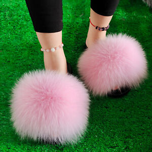 Max Large XXL Real Fox Fur Slides Womens Ladies Sliders Slippers Sandals Shoes