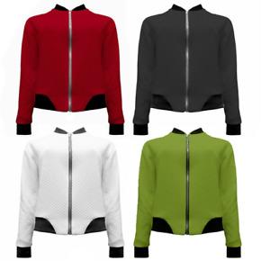New UK Women's Ladies Cross Stitched Baseball Style Bomber Jacket Sizes S/M-M/L