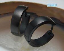 Herren Ohrringe Edelstahl Creolen Titan schwarz IP matt 18mm Flinserl Bogen