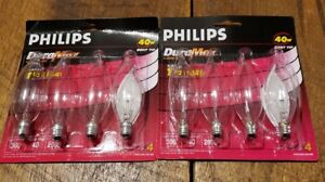 2 DuraMax 40W Bent Tip Clear Quantity 4 Bulb Pack by Philips Candelabra Base BA9