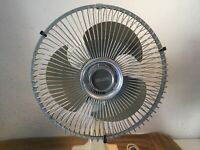 "Vintage Galaxy 2 Speed Oscillating Fan 12"" Gray Blades Type 9 Style 6M"
